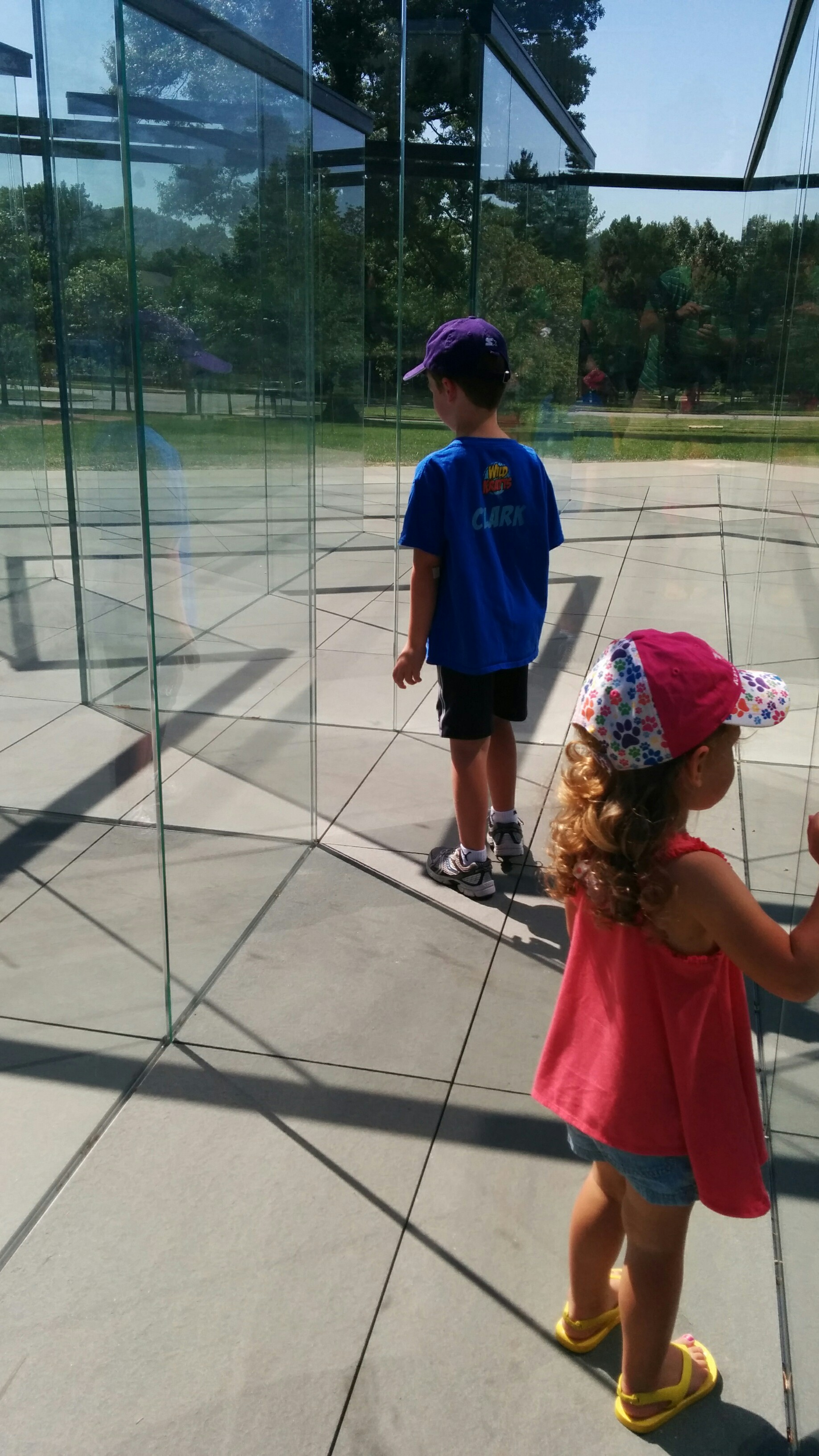 Smudging the labyrinth glass at Nelson Atkins